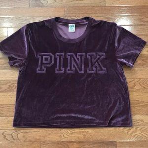 Pink Victoria Secret velvet velour crop top